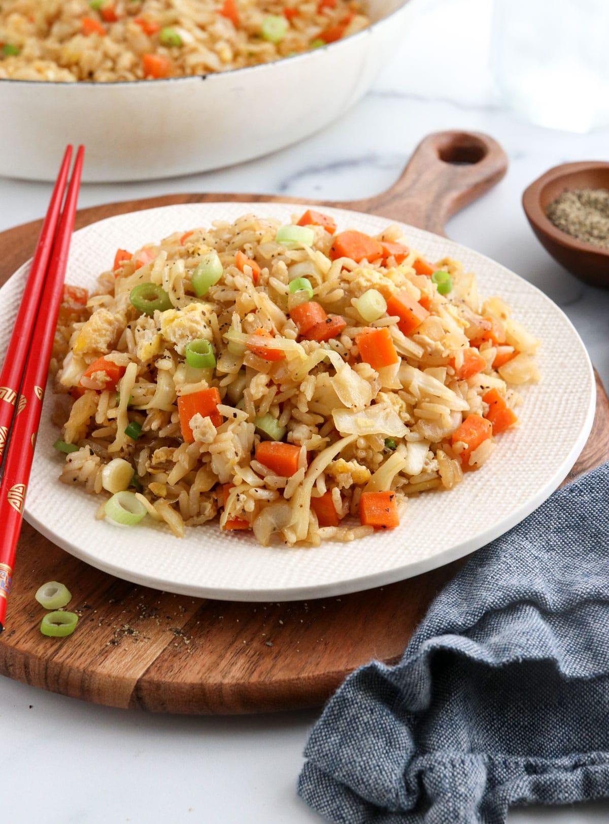 veggie fried rice served with chopsticks