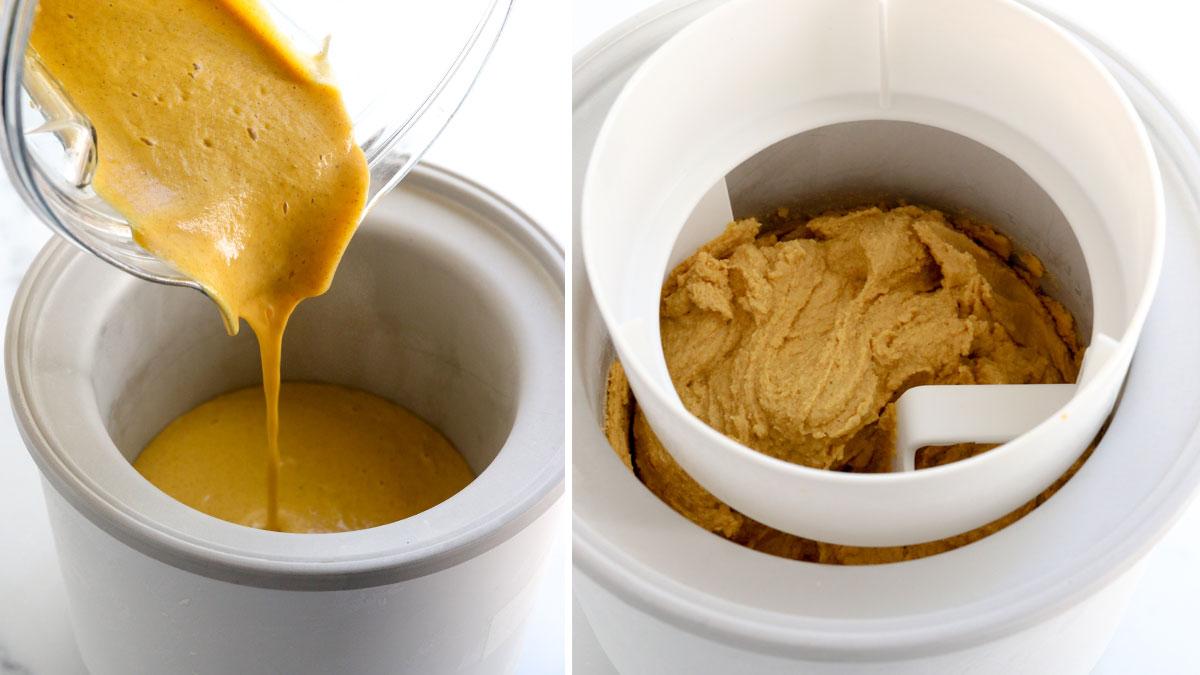 pumpkin ice cream added to machine