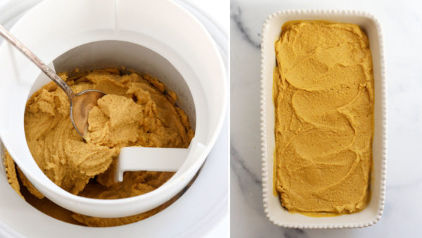 finished ice cream in machine and transferred to dish