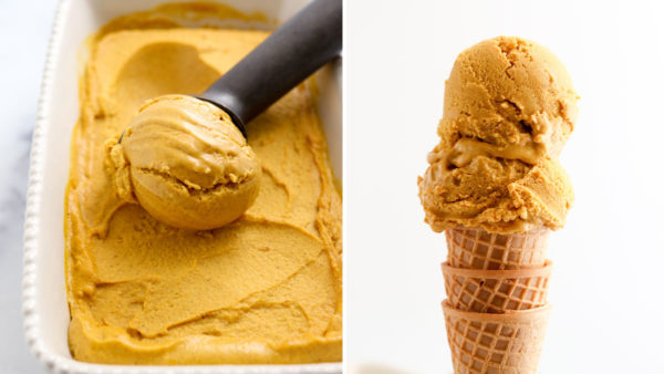 finished pumpkin ice cream served on cone